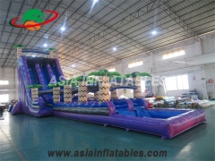 Purple Tropical Inflatable Water Slide